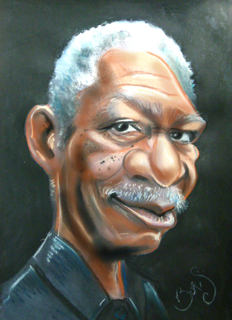 Caricature de Morgan Freeman