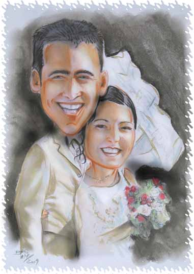 faire-part caricature Des jeunes mariés