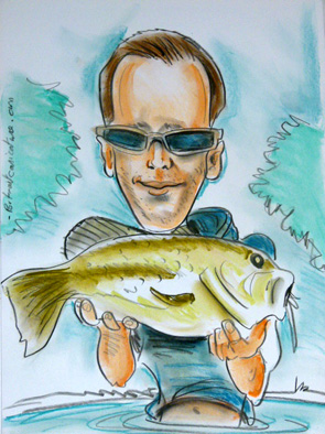 Caricature d un pêcheur avec son poisson
