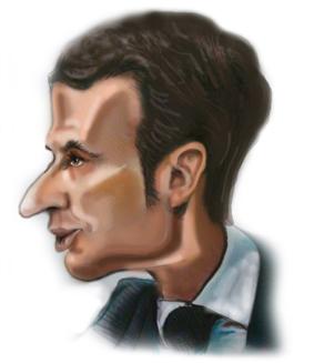 caricature politicien Macron