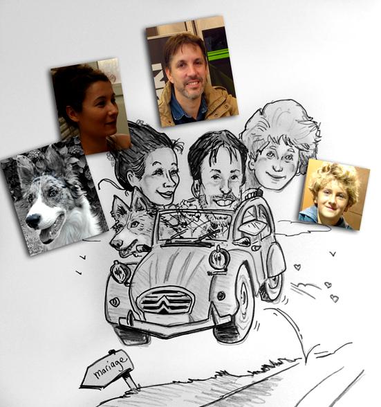 caricature pour faire part de mariage
