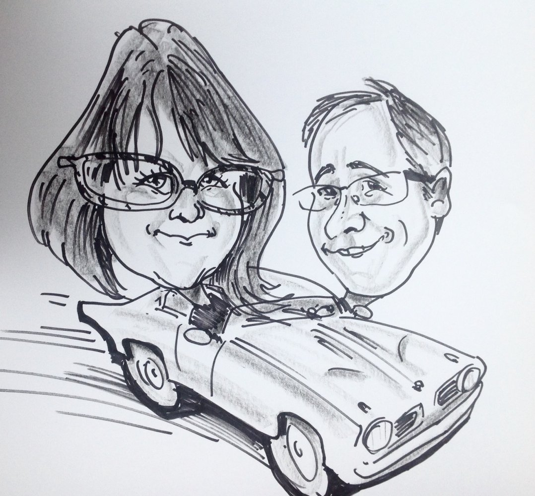 Caricature d'un couple fan de vitesse