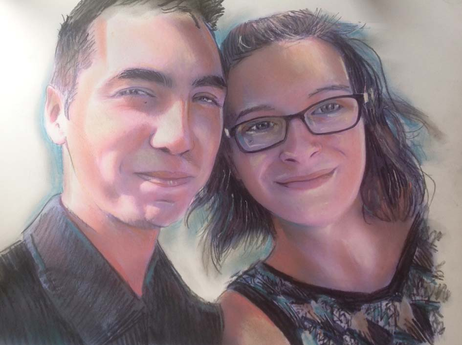 Portait couple au pastel sur photo