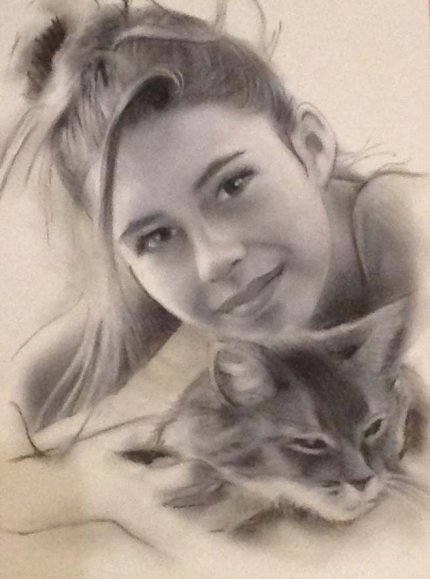 Portrait la fille et son chat